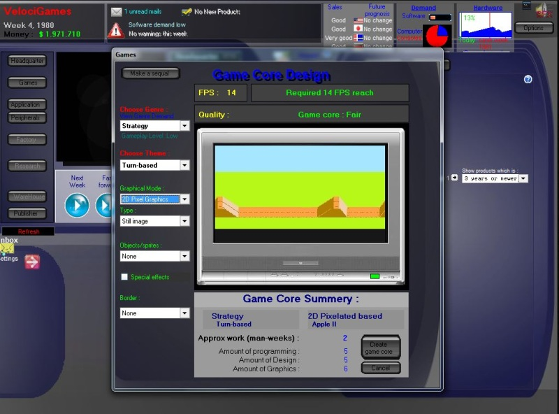 Gamebiz 3 simulates the Videogame industry from 1980 to 2030.